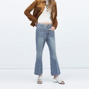 Zara Relaxed Cropped Flare Jeans Denim Size 6